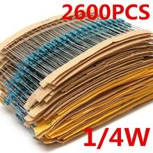 2600pcs 130 ค่า 1/4W 0.25W 1% ตัวต้านทานฟิล์มโลหะชุดชุดสารพันชุดLotตัวต้านทานชุดLot