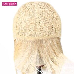 Image 5 - Perruques Lace Front wig brésilienne naturelle, cheveux lisses, blond 613, 10 28 pouces, pre plucked, 150%, fait Machine