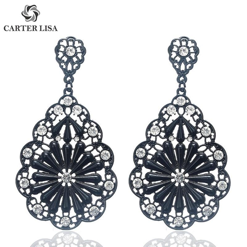 CARTER LISA Fashion Bohemian Crystal Flower Black Color Filigree Dangling Earrings Best Gift For Women Girl Boho Jewelry