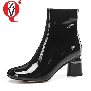 ZVQ patent leather martin boots round head zipper office work shoes professional booties winter autumn high heels women's shoes