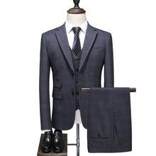 Dressv Серый Жених костюмы на двух пуговицах блейзеры ретро джентльмен стиль сделанный на заказ Узкий покрой свадебные костюмы для мужчин 3 шт