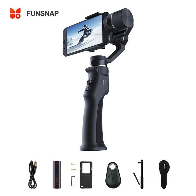Стабилизатор Funsnap для смартфона, 3 осевой ручной шарнирный стабилизатор для экшн камеры Gopro Sjcam Xiaomi 4k