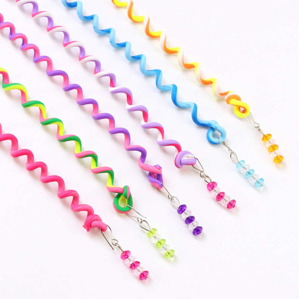 6PC New Simple Colorful Beauty Elastic Girls Spiral Spin Hairpin Curler DIY Bands Rubber Band Kids Hair Accessories