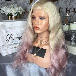 Image 3 - AVEJOICE karışık pembe renk dantel ön peruk ön koparıp Hairline brezilyalı vücut dalga İnsan saç peruk siyah kadın için yoğunluğu 150%