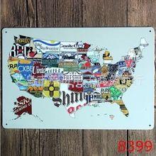 Металлический жестяной знак 20x30 см карта штата американский