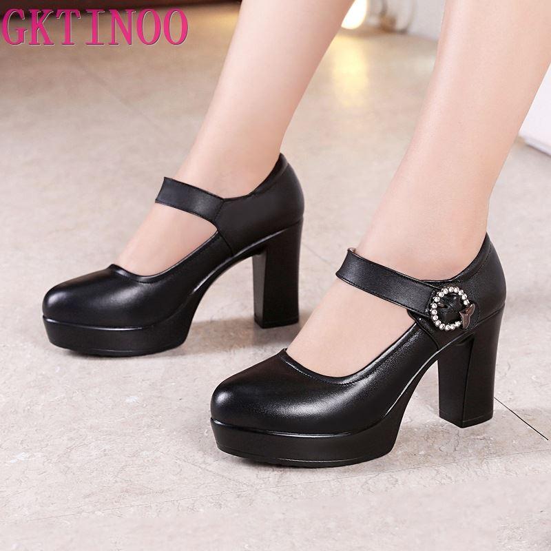 GKTINOO Round Toe Block Heels Platform