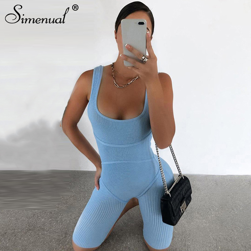 Simenual Ribbed Skinny Casual Biker Shorts Rompers Womens Jumpsuit Sleeveless Sporty Workout Bodycon Fashion Playsuits Solid Hot