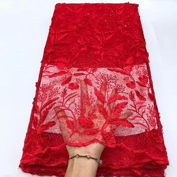 Red Wedding Lace WIth Sequins High Quality African Tulle Guipure Cord Lace Fabric Latest Nigerian French Network Lace Fabric