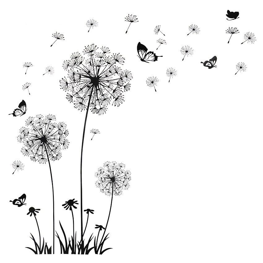 Borboleta voando em dandelion quarto sala de estar decoração adesivos de parede pvc decoração para casa pano de fundo lm7030