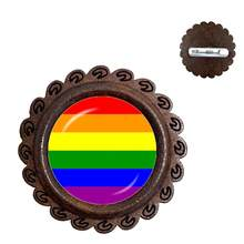 Gay Pride Brooches Pins Same Sex Lgbt Jewelry Gay Lesbian Pride With Rainbow Love Wins Gift Same Sex Marriage Collar Pins(China)