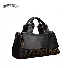 Bag Fashion Tote-Bag Women Handbags Genuine-Leather High-Quality SUWERER Leopard Soft