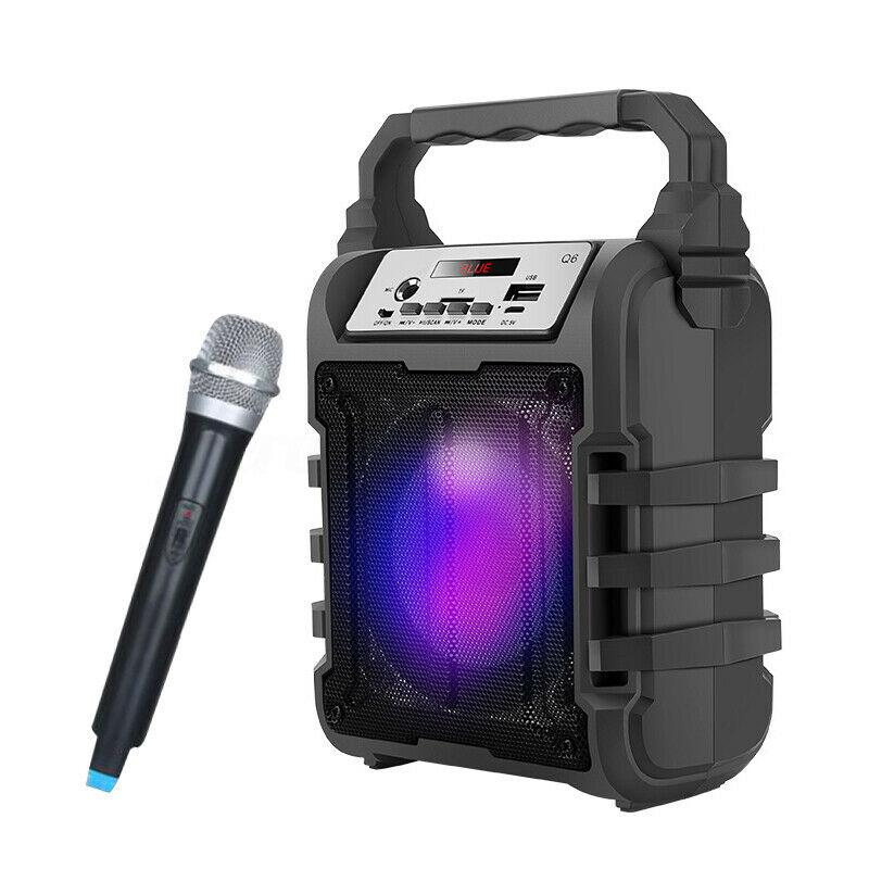 Portable Karaoke Speaker 3D Wireless bluetooth Speaker System Bass Subwoofer Microphone Support Hands free/USB/TF Card/AUX/FM|Portable Speakers| - AliExpress