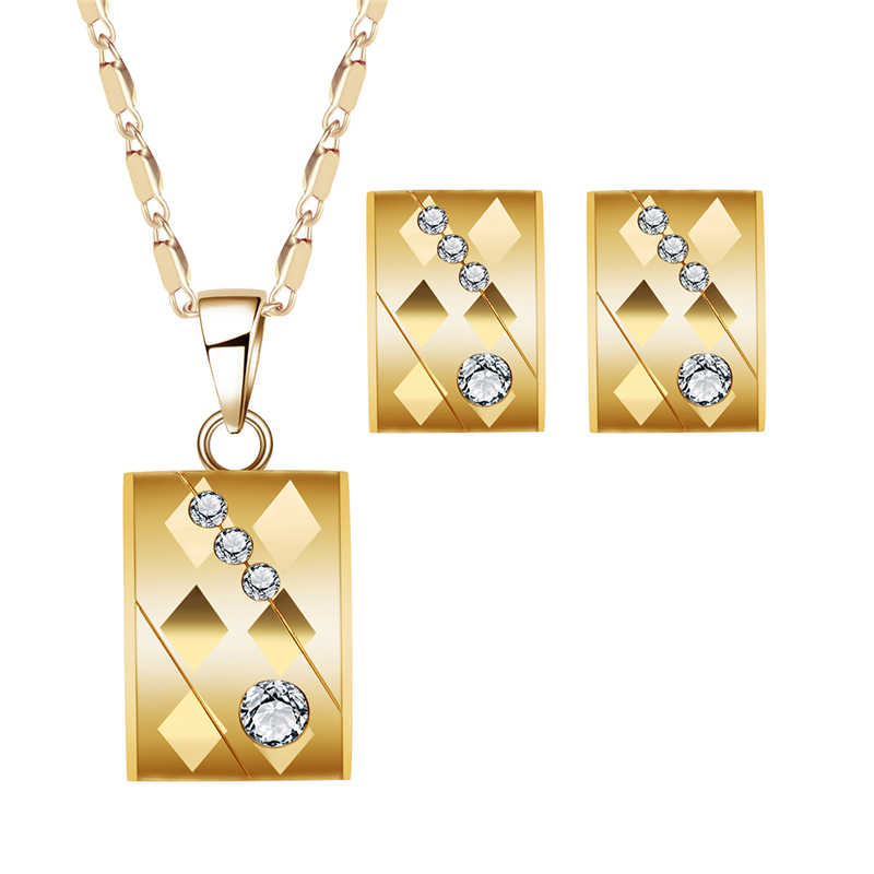 African Brides Jewelry Set Gold Color Bridal Jewelry Sets for Women Wedding Engagement Dubai Ethiopian Necklace Earrings