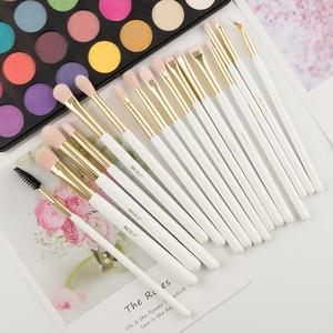 Image 3 - Набор кистей для макияжа BEILI, Профессиональные синтетические, жемчужные, белые, золотые, для основы под макияж, консилера, бровей, для веганов