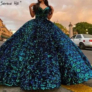 Image 5 - דובאי מתוקה סקסי ירוק יוקרה חתונה שמלות 2020 נצנצים כבוי כתף שמלות כלה Serene היל HM66991 תפור לפי מידה