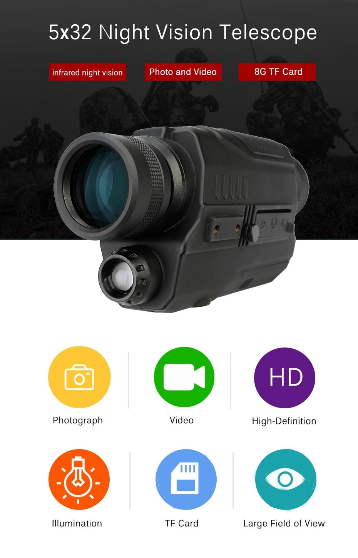 Svbone 5x32 Vision nocturne monoculaire numérique 0.3 mégapixels CMOS 1.5 écran LCD dispositif infrarouge chasse jumelles télescope - 2