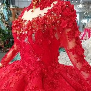 Image 4 - LS11290 robe de bal robes de soirée col haut manches longues à lacets dos rose robes de soirée de mariage pli multi couche vestido longo