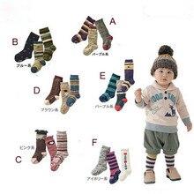 3pairs Unisex Infant Cotton Infantknitting Socks Non Slip Soft warmer Born 2Months Baby Leg Warmers Winter Hose Stripe Pattern