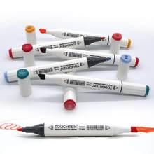 TOUCHTEN couleur unique correspondant Art marqueurs pinceau stylo croquis à base d'alcool marqueurs double tête Manga dessin stylos fournitures d'art