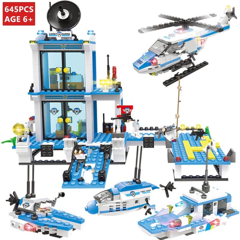 645Pcs Cidade SWAT Da Polícia Marítima do Comando Da Guarda Costeira Blocos de Construção Define Criador LegoINGLs Tijolos Brinquedos Educativos para Crianças