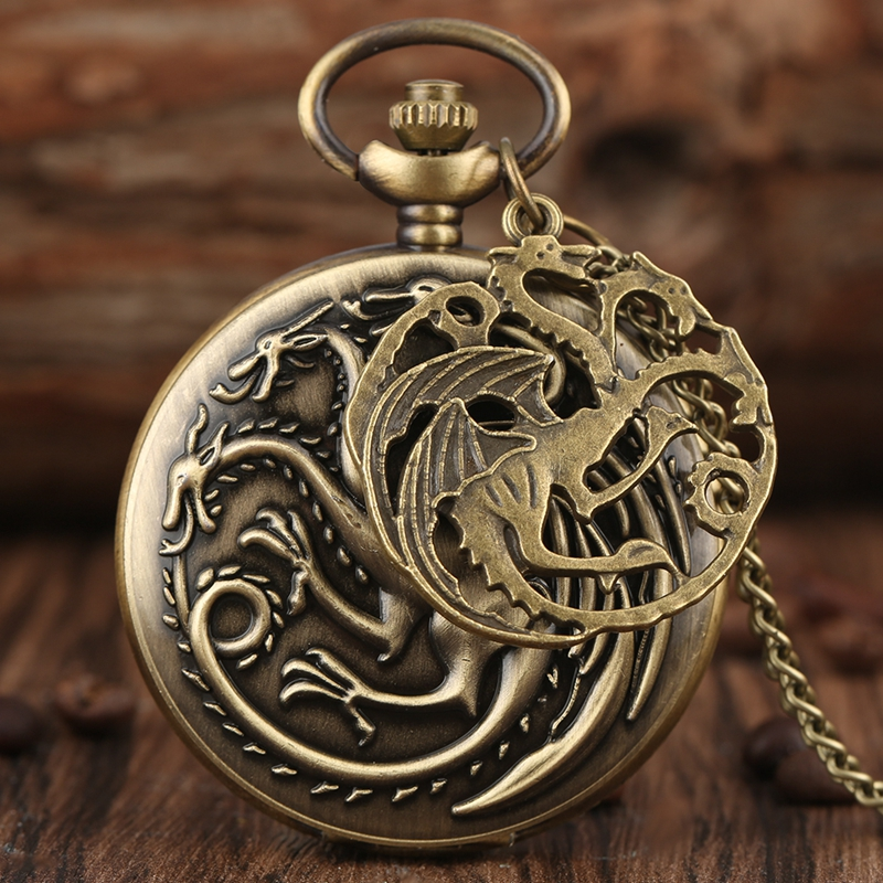 Retro Game Of Thrones Theme Quartz Pocket Watch Family Crests House Targaryen Dragon Necklace Pendant Chain Watch With Accessory