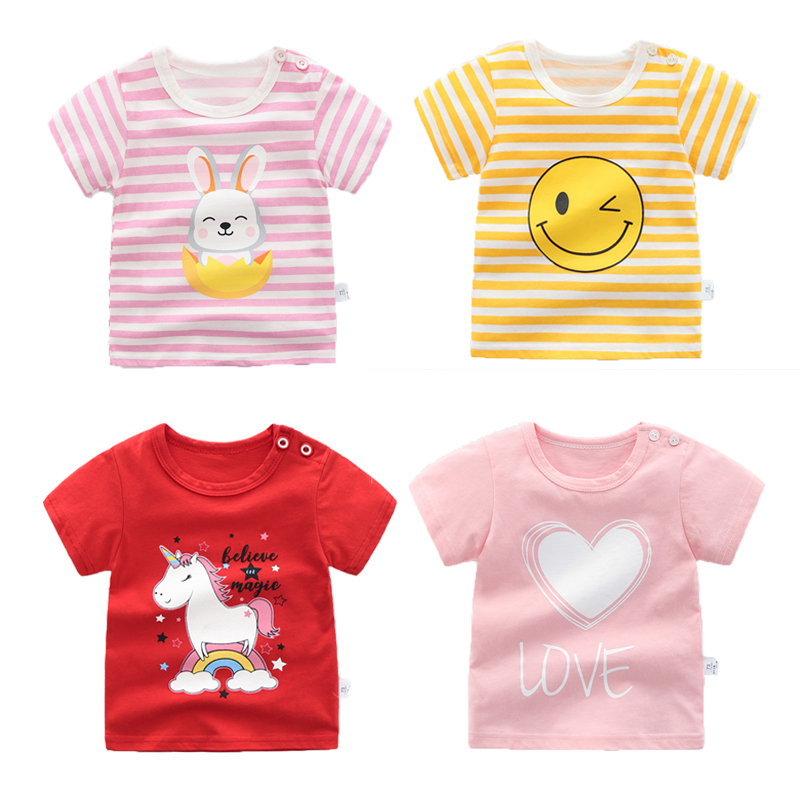New Baby Summer Short Sleeved Clothes Cotton T Shirt 1-4 Years Children Soft Cartoon Unicorn Tops Cute Appliqued Girl Shirt Coat