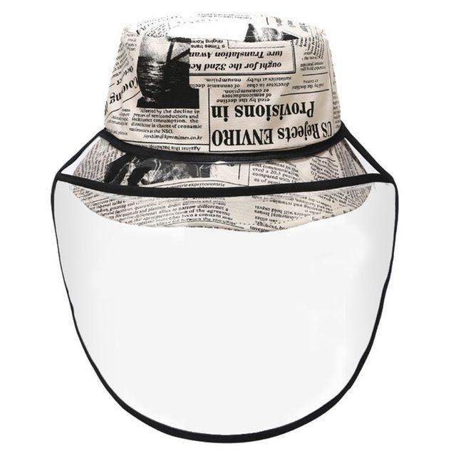 New Unisex Retro Newpaper Letters Bucket Hat Full Face Protection Shield Detachable Sun Protection Anti Saliva Fisherman Cap 1