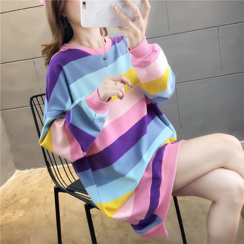 stripe Cotton winter rainbow Women sweatshirt Long section rainbow Harajuku Kawaii Hoodies Korean Style Oversized Tops Female