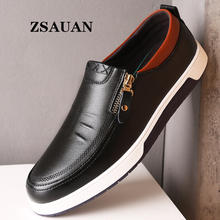 ZSAUAN Dropshipping Men Leather Casual Shoes Zip Office Loafers Sneakers Spring/Autumn Flats Mocassin Homme Large Size 38-47