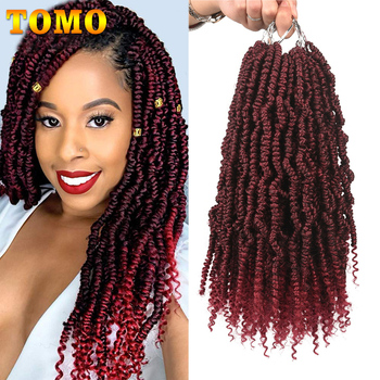 TOMO Bomb Twist Crochet Hair Mini Passion Twist Hair 12 Inch 24 Roots Fluffy Spring Twist Hair Ombre Synthetic Hair Extensions фото
