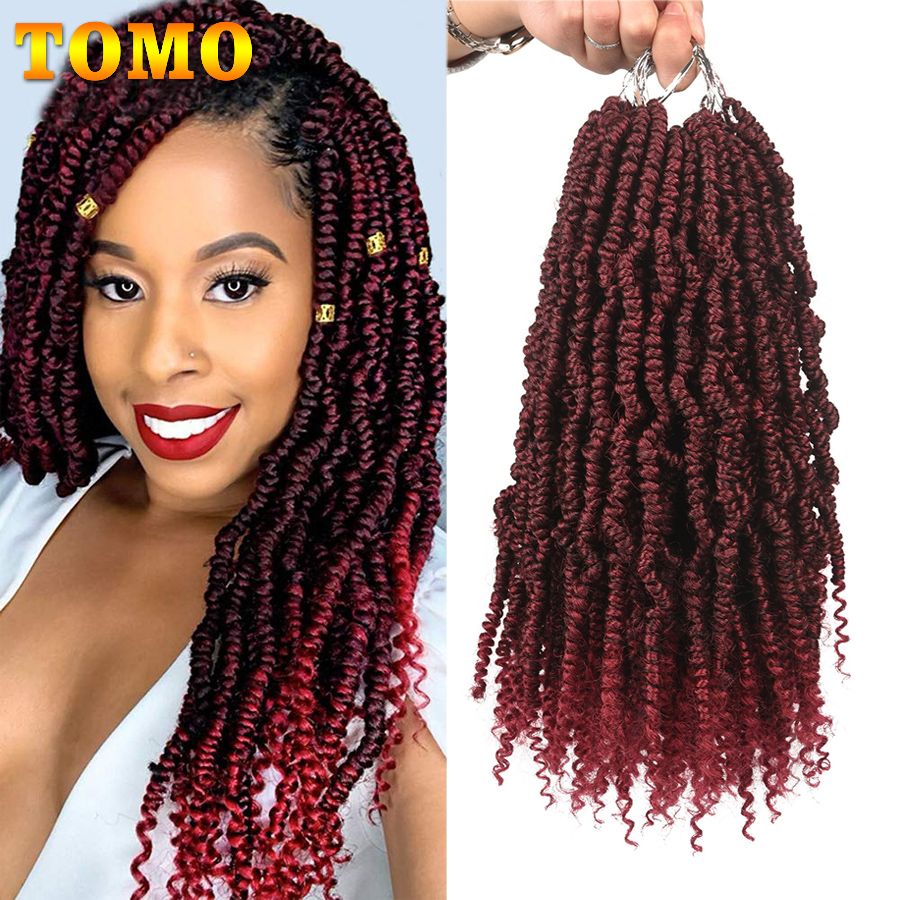 TOMO Bomb Twist Crochet Hair Mini Passion Twist Hair 12 Inch 24 Roots Fluffy Spring Twist Hair Ombre Synthetic Hair Extensions
