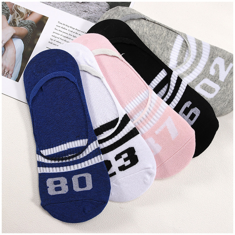 5 Pairs Ladies Print Striped Number Women Invisible Footsies Shoe Liner Trainer Ballerina Boat Socks 2019 Socks Women