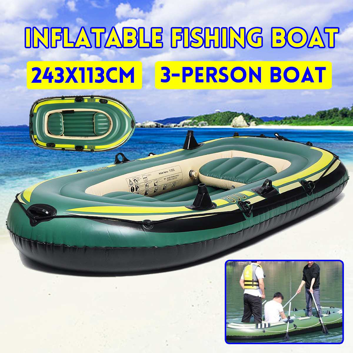 New 3 Person Thickening PVC Inflatable Boat Raft River Lake Dinghy Boat Pump Fishing Boat Sailboat 243x113cm Hot 1