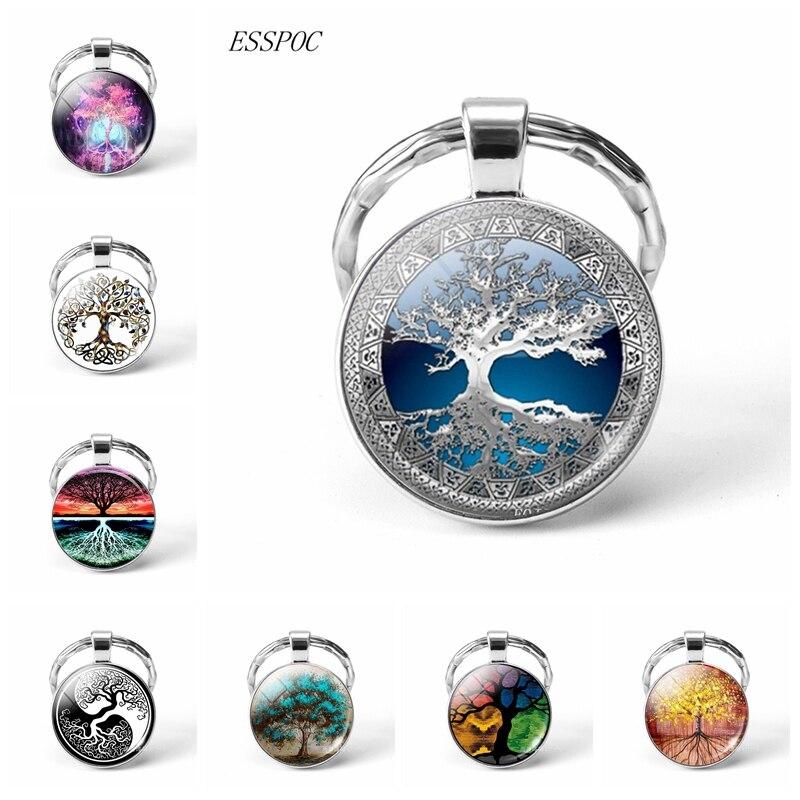 Dropshipping Tree Of Life KeyChain Vintage Handmade Glas Cabochon Art Key Chain Key Rings Tree Of Life Jewelry 2019 Fashion