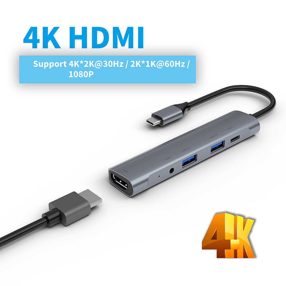 5-in-1 di Tipo C HUB Adattatore Dock USB C a HDM USB 3.0 PD Convertitore di Potere per iPad Pro 11/12.9 2018 Samsung Dex stazione di MacBook Pro