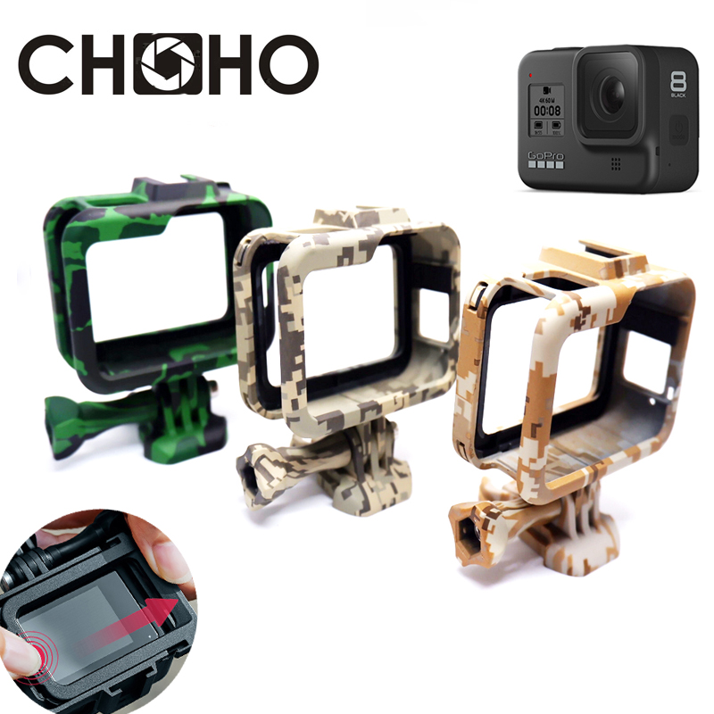 For Gopro Hero 8 Accessories Frame Case Army Green Shell Protector Housing Color + Lone Screw Base Mount For Go Pro 8 Black New