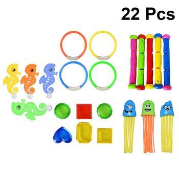 22 Uds. Anillos de buceo para niños, Octopus Kit de mar de caballos, juego de verano de buceo para piscina, Juguetes Divertidos de natación subacuática, juguetes de baño