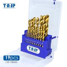 TASP 19 قطعة HSS مجموعة لقمة مثقاب للمعادن والخشب 1.0 ~ 10 مللي متر مطلي بالتيتانيوم مع صندوق تخزين أدوات كهربائية إكسسوارات