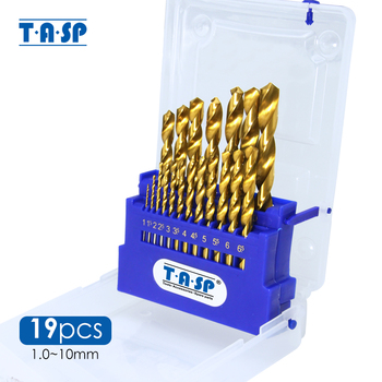 TASP 19pcs HSS M35 Cobalt Drill Bit Set for Stainless Steel Metal Wood Titanium Coated with Storage Box Power Tools Accessories