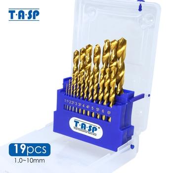 TASP 19pcs HSS Drill Bit Set for Metal & Wood 1.0~10mm Titanium Coated with Storage Box Power Tools Accessories
