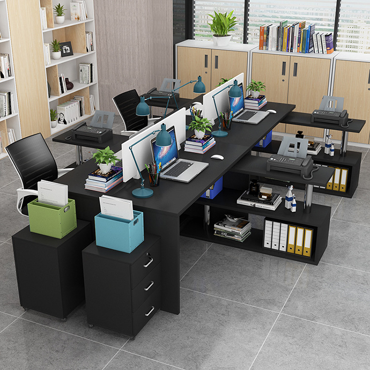 Wholesale Simple Staff Office Computer Desk 4 People Work Position Assemblage Zones Screen Holder Customizable Double yuan gong