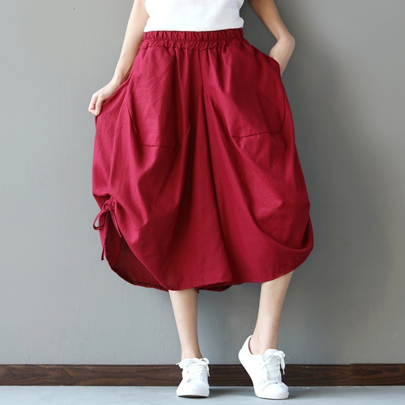 Summer Fashion Ethnic Solid Color Baggy Cotton Linen Trousers For Women Capris Loose Large Size Casual Lace Up Wide Leg Pants