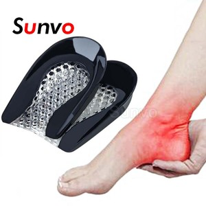 Silicone Gel Heel Pad for Shock Absorption Plantar Fasciitis Pain Relief Foot Care Insert Insole Height Increase Cup Cushion Pad