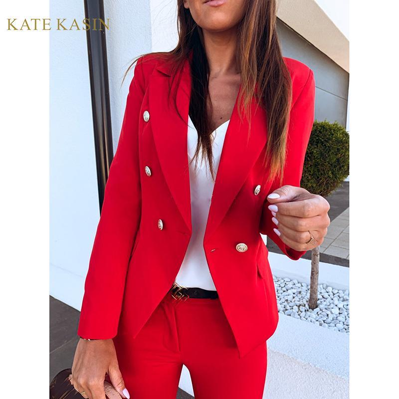 Kate Kasin Women's Casual Double Breasted Slim Blazer Jacket Metal Buckle Long Sleeve Suit Coat Business Office Lady Outwear