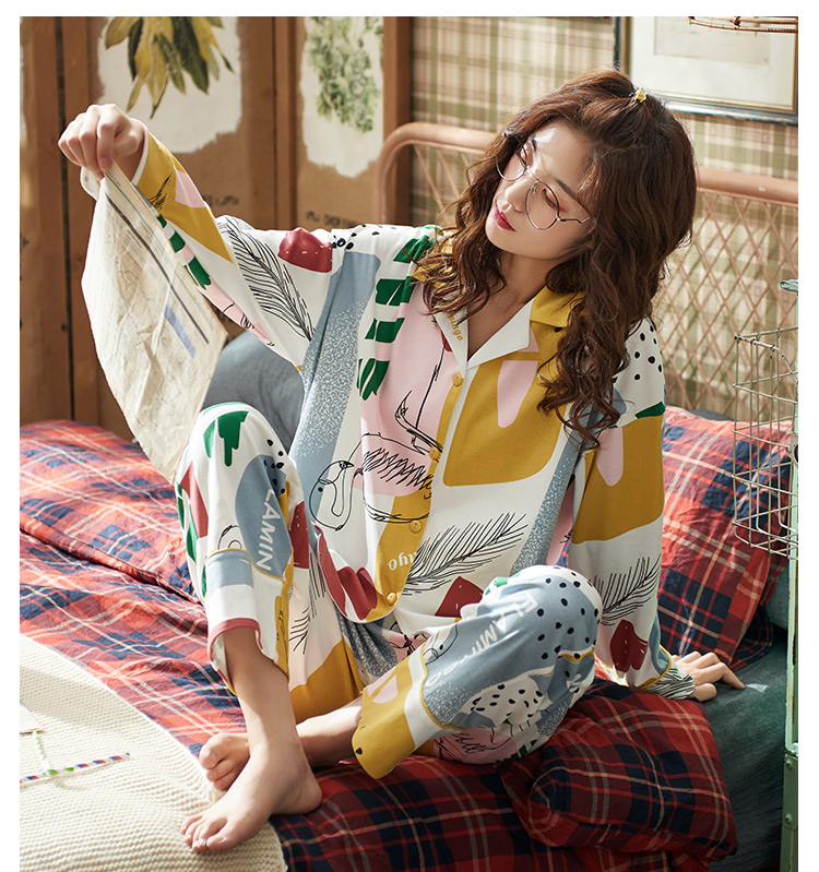 Hc9719a10a7c349708c20ed8829cd8dfb8 - BZEL Hot Sale Autumn Winter Sleepwear Cotton Ladies Pajamas Set Long Sleeves+Pans Underwear Lovely Nightwear Pijama Pyjama M-4XL