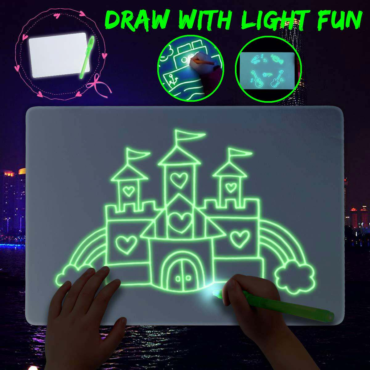 1pcs A3 A4 A5 Luminous 3D Drawing Board Graffiti Doodle Drawing Tablet Magic Draw With Fluorescent Pen Paint Educational Toys