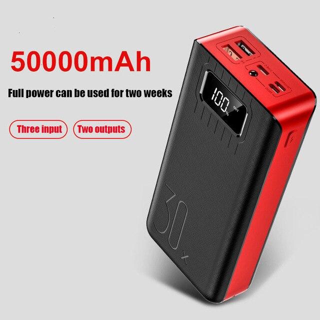 전원 은행 50000mAh 2 USB LED 외부 배터리 전화 충전기 PoverBank xiaomi에 대 한 빠른 휴대용 충전 전원 은행 충전기