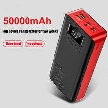 Carregador portátil de 50000mah e 2 entradas usb, banco de energia externo com led para telefones, carregamento rápido, para xiaomi