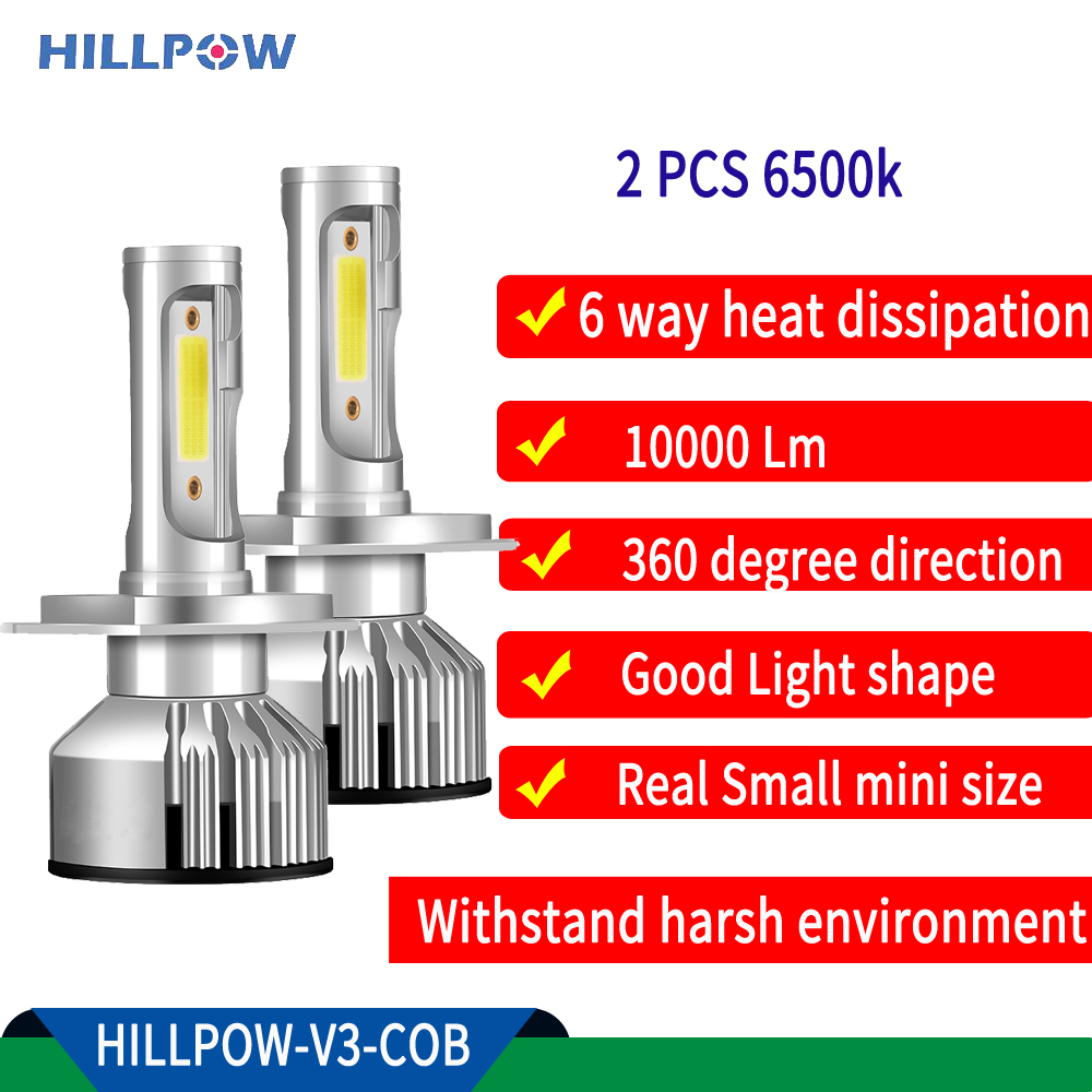 Hillpow LED Car Headlight Bulb H7 Led H7 Auto Front Lamp H4   H11 H8 HB4 H1 H3 HB3 9006 9007 H13 Auto V3  72W 10000LM S2 6500K