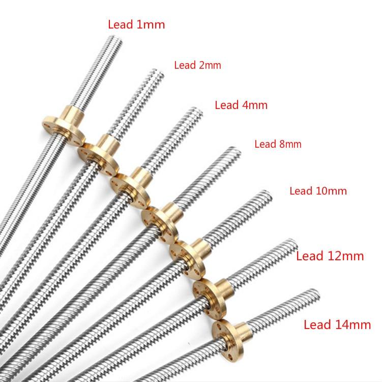 CNC 3D Printer Trapezoidal Rod T8 Lead Screw Thread 8mm Lead 1 2 4 8 10 12 14mm L:100mm200mm300mm400mm500mm600mm With Brass Nut
